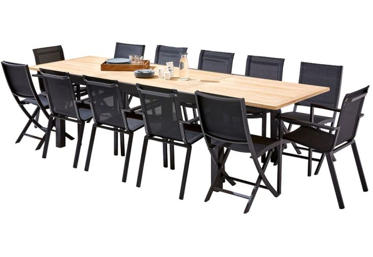 Salon de Jardin Bali : Table Extensible + 8 Fauteuils + 4 Chaises ...