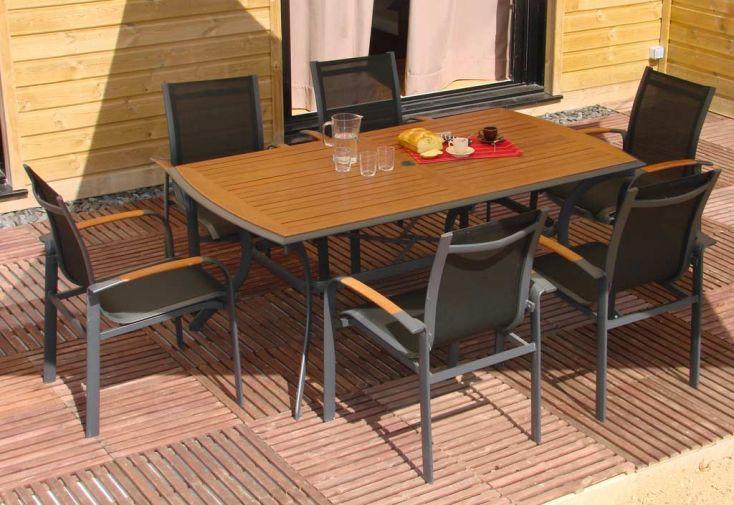 Table Jardin Bois Exotique (182x106) + 6 Fauteuils aluminium