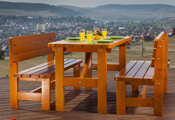 Salon de Jardin Bois 40 mm 6 Places: 1 table + 2 Bancs Strasbourg
