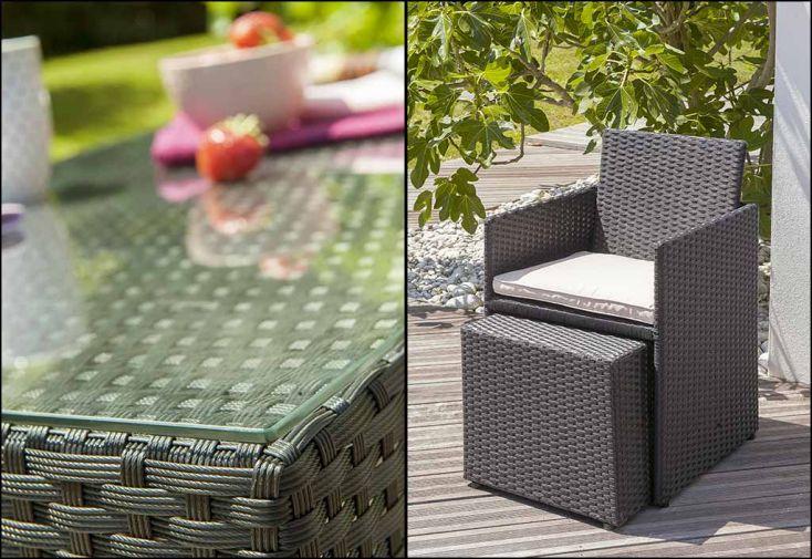 Salon de Jardin Encastrable 1 Table 2 Fauteuils 2 Poufs (2 coloris)