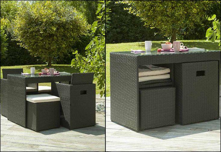 salon de jardin encastrable 1 table 2 fauteuils 2 poufs 2 coloris dcb garden. Black Bedroom Furniture Sets. Home Design Ideas