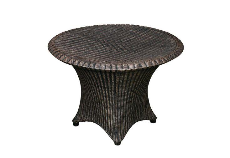 table de jardin en résine tressée ronde basse marron