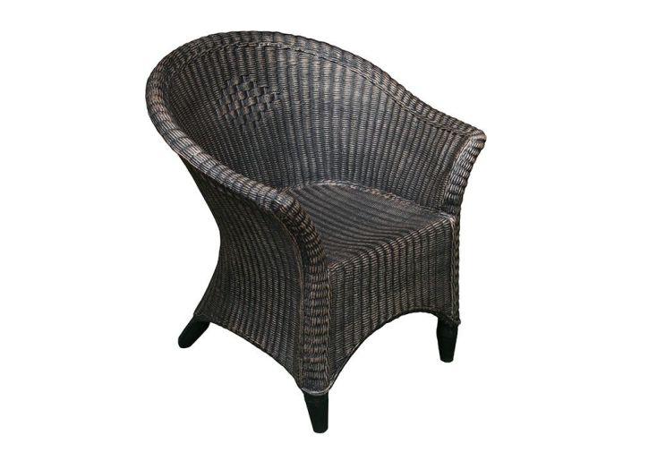 fauteuil de jardin en résine tressée marron roto