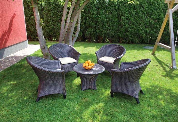 Table Basse Ronde de Jardin en Résine Tressée Marron Bambou