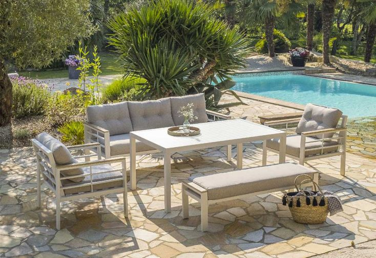 Salon de Jardin Haut 7 Places en Aluminium DCB Garden Cayenne Blanc