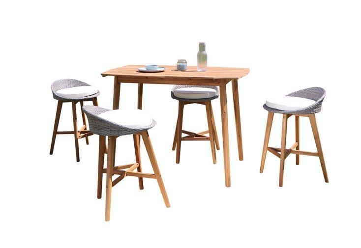 Salon de jardin en hauteur en bois d'acacia une table haute et quatre chaises haute