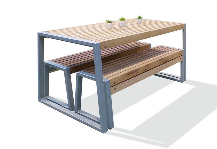 Salon De Jardin Table Bancs En Iroko Et Métal Lucca 2 Dimensions