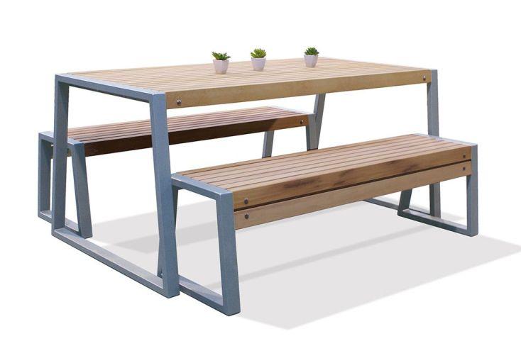 Salon de Jardin Table + Bancs en Iroko et Métal Lucca (2 dimensions)