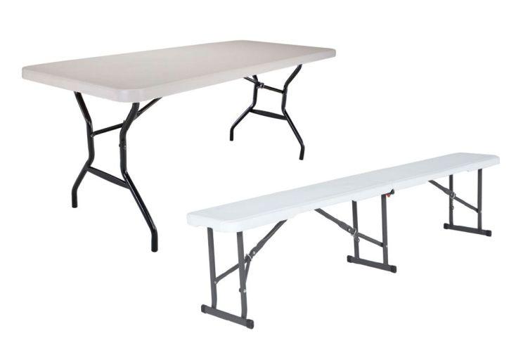 Table Résine Non Pliante + 2 Bancs Résine Pliants