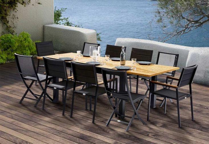 salon à manger d extérieur avec table à rallonge pour 6 à 10 personnes  salon  de jardin en aluminium et en teck pour accueillir jusqu à 10 personnes ... 3e8b10df3e52