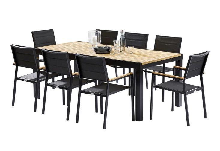 Salon de jardin bali aluminium et teck table extensible 8 fauteuils wilsa - Salon de jardin teck et aluminium ...