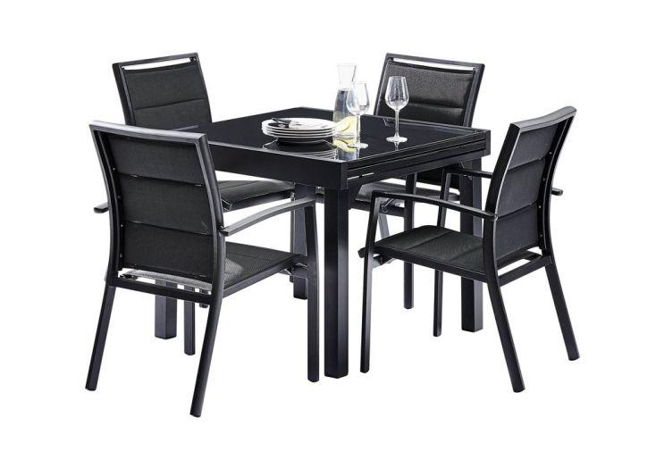 Salon de Jardin Modulo : Table Extensible + 4 Fauteuils