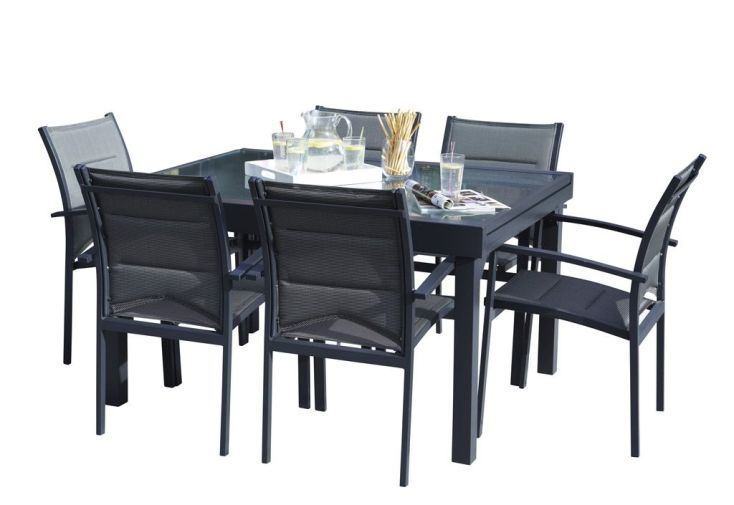 Salon de Jardin Modulo : Table Extensible + 6 Fauteuils - Wilsa