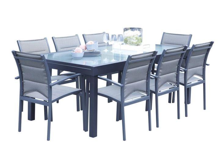 Salon de Jardin Modulo : Table Extensible + 8 Fauteuils - Wilsa