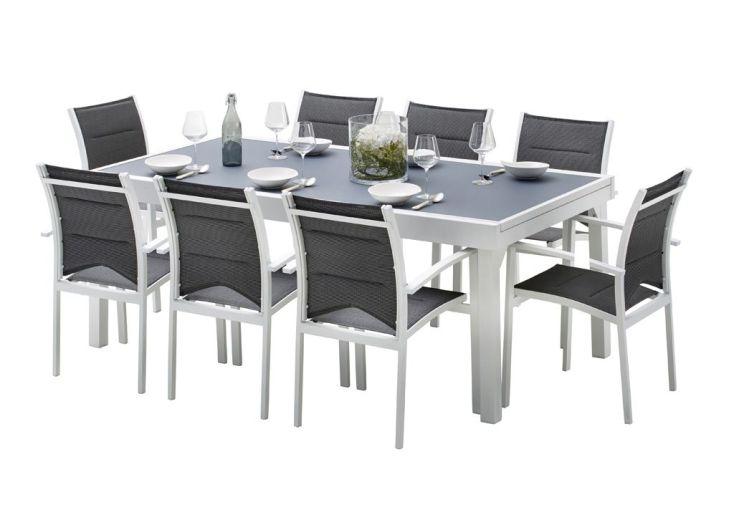 Salon de Jardin Modulo : Table Extensible + 8 Fauteuils