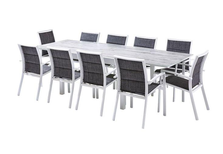 Salon de Jardin Aluminium : Table Extensible 135/270 cm + Fauteuils ...