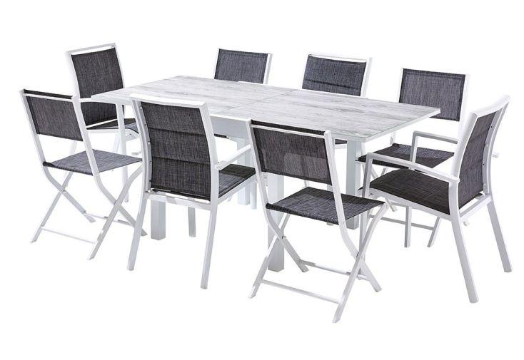 Salon de Jardin Aluminium : Table Extensible 90/180 cm + 4 Fauteuils