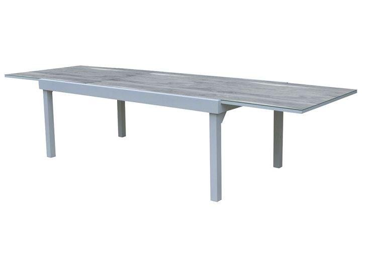 Salon de Jardin Aluminium : Table Extensible 200/320 cm + Fauteuils