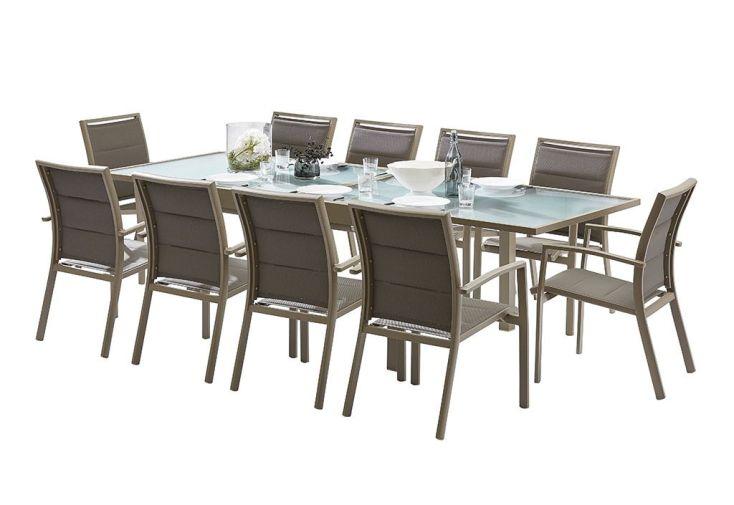 Salon de jardin en aluminium et verre avec fauteuils en textilène