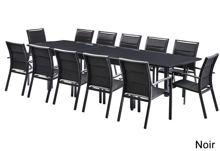 Salon de Jardin Modulo : Table Extensible + 12 Fauteuils