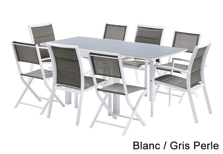 Salon de Jardin Modulo : Table Extensible + 4 Fauteuils + 4 chaises