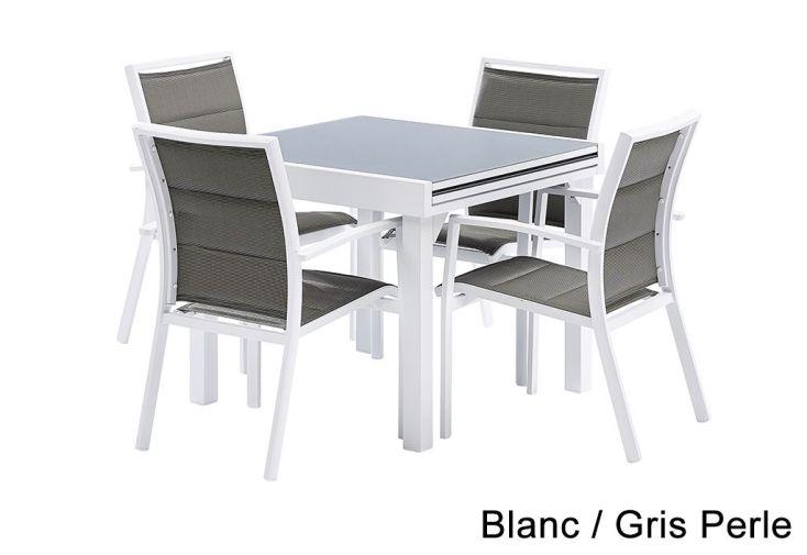 Salon de Jardin Modulo : Table Extensible + 4 Fauteuils - Wilsa