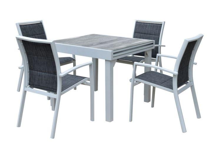 Salon de Jardin Aluminium : Table Extensible 90/180 cm + 4 Fauteuils ...