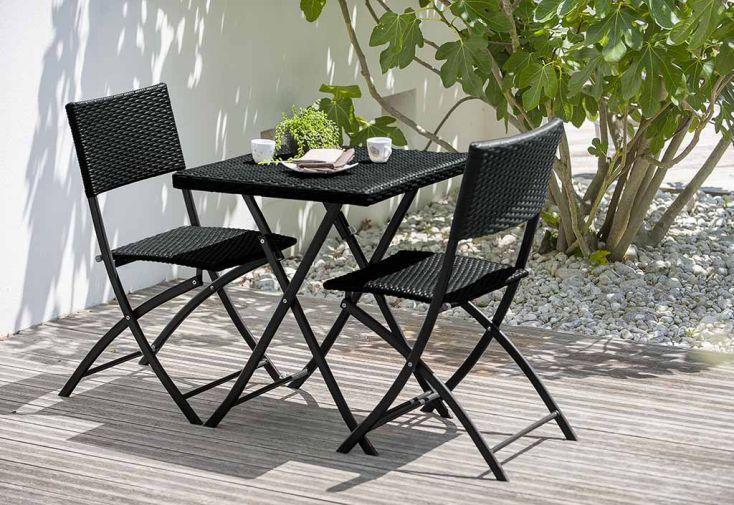 Salon de Jardin en Résine TresséeAlice : 1 Table 2 Chaises