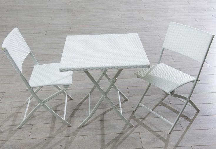 Ensemble Résine Tressée Table + 2 Chaises Blanc