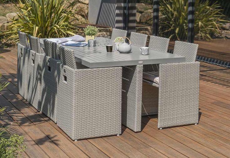 Salon de Jardin Résine Tressée Encastrable Gris : 1 Table + 8 Fts ...