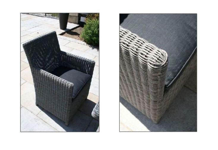 Salon de Jardin Résine Tressée détails fauteuil et coussin
