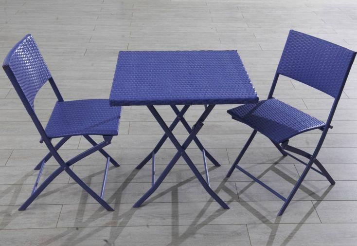 Ensemble Résine Tressée Table + 2 Chaises Violet