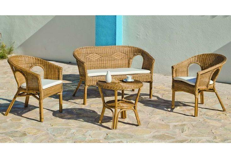 Salon de Jardin en Rotin Tressé : Canapé + 2 Fauteuils + Table Basse