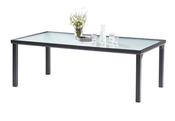 Salon de Jardin BlackSun en Alu et Verre Trempé : Table + 8 Fauteuils