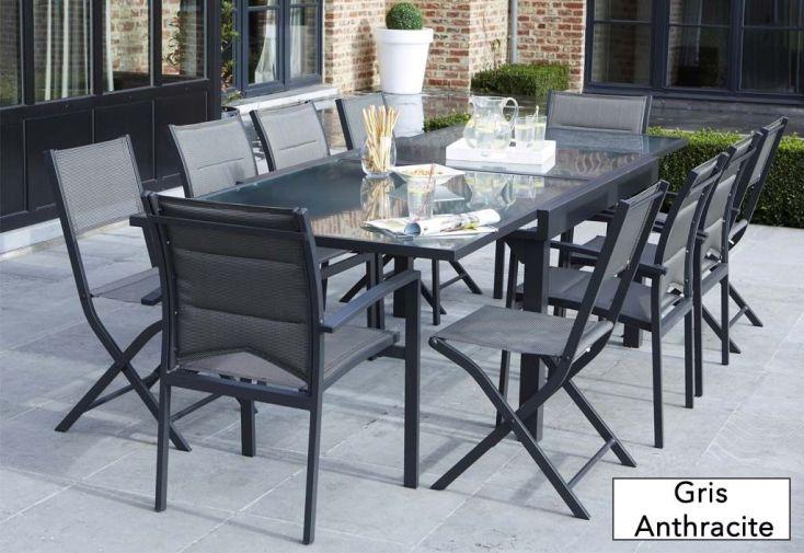 Salon de Jardin Modulo, Table Extensible + 4 Fauteuils + 4 chaises ...