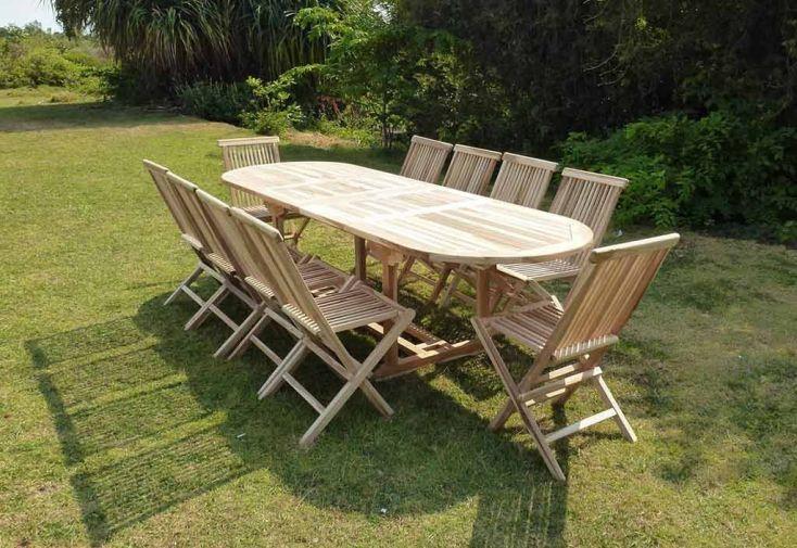 Salon de Jardin Bois Teck Table Extensible Ovale 280 cm + 10 chaises