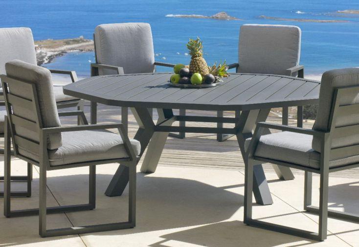 Salon de Jardin en Aluminium Ambera Table Ronde 200cm + 8 Fauteuils