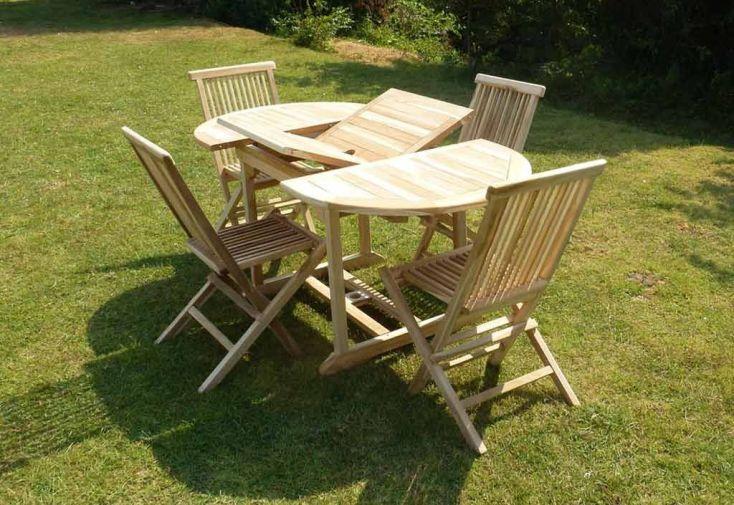 Salon de Jardin Bois Teck Table Extensible Ovale 170 cm + 4 chaises