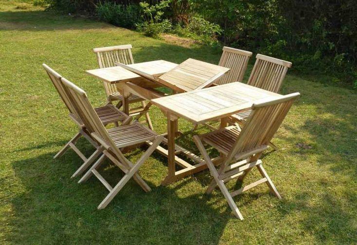 Salon de Jardin Bois Teck Table Extensible Rectangulaire 170 cm + 6 chaises