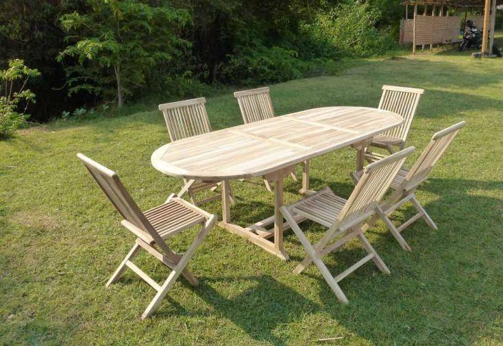 Salon de Jardin Bois Teck Table Extensible Ovale 230 cm + 6 chaises