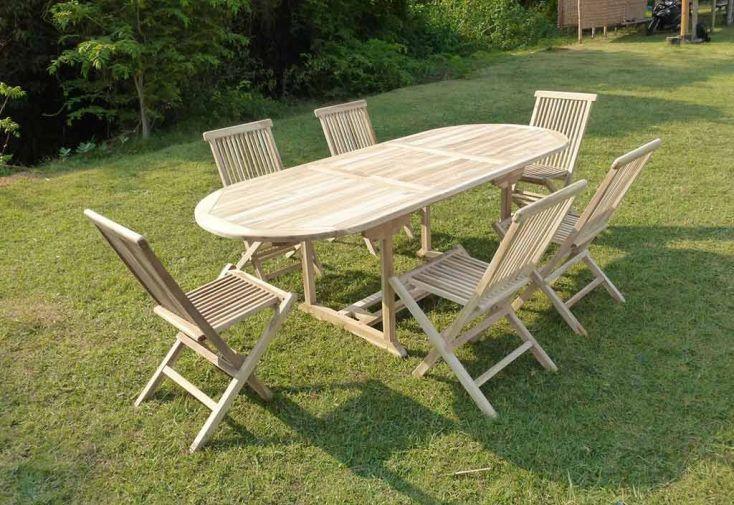 Salon de Jardin Bois Teck Table Extensible Ovale 170 cm + 6 chaises