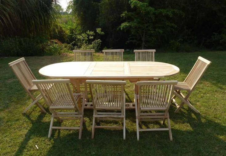 Salon de Jardin Bois Teck Table Extensible Ovale 230 cm + 8 chaises