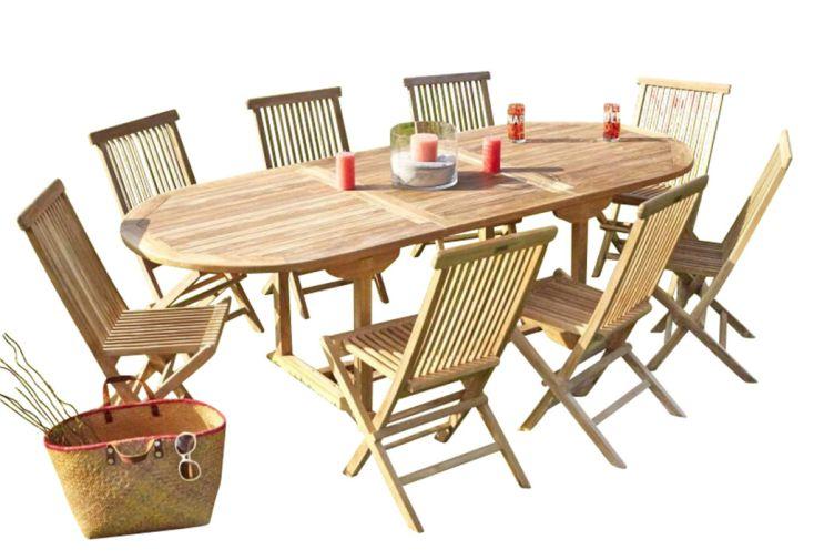 Salon de jardin avec table ovale 240 cm et 8 chaises en teck brut