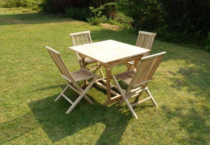 Salon de Jardin Bois Teck Table Extensible Rectangulaire 170 cm + 4 ...