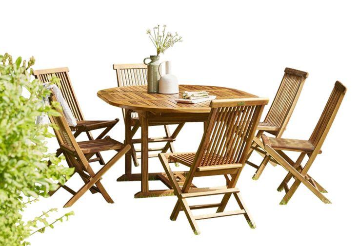 Salon de jardin en bois de teck huilé pour 4 à 8 personnes avec 6 chaises