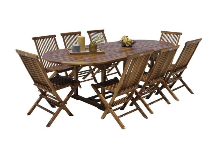 Salon de jardin en bois de teck huilé avec une table modulable et 8 chaises
