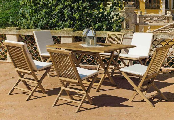 Salon de Jardin Pliable en Teck : Table à Manger + 6 Chaises - Hevea