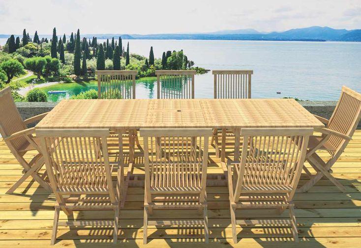 Salon de Jardin Teck - Table Rectangulaire 180/240 cm + 8 Assises