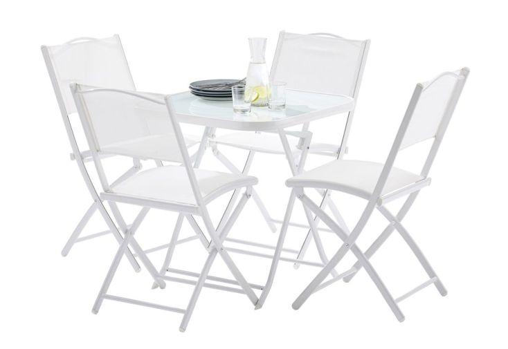 Salon de Jardin pour Terrasse en Acier : 1 Table + 4 Chaises Blanc ...