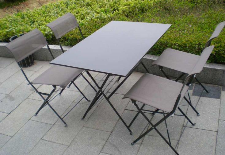 Table Pliante Rectangulaire Cytadine + 4 Chaises Textilène